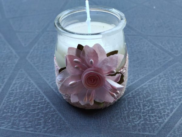 petite bougie rose fleur